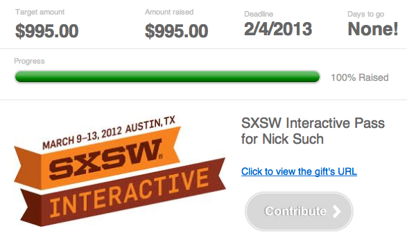 Nick's friends buy him SXSW ticket with Shareagift!
