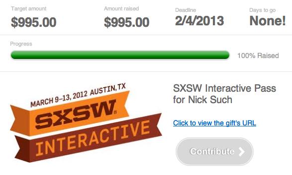 Nick's friends buy him SXSW ticket withShareagift!